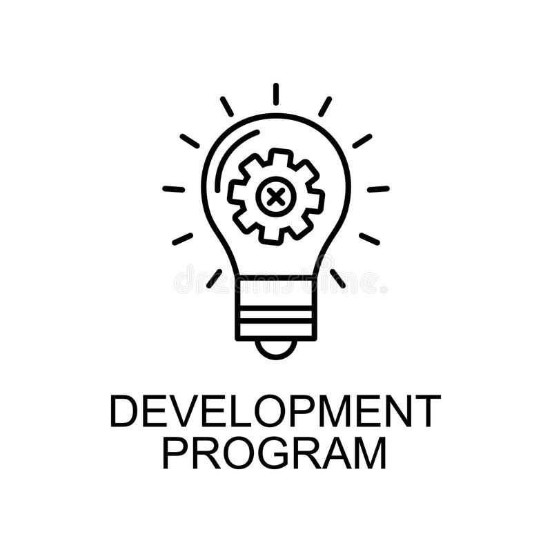 development program line icon. Element of human resources icon for mobile concept and web apps. Thin line development program icon royalty free illustration