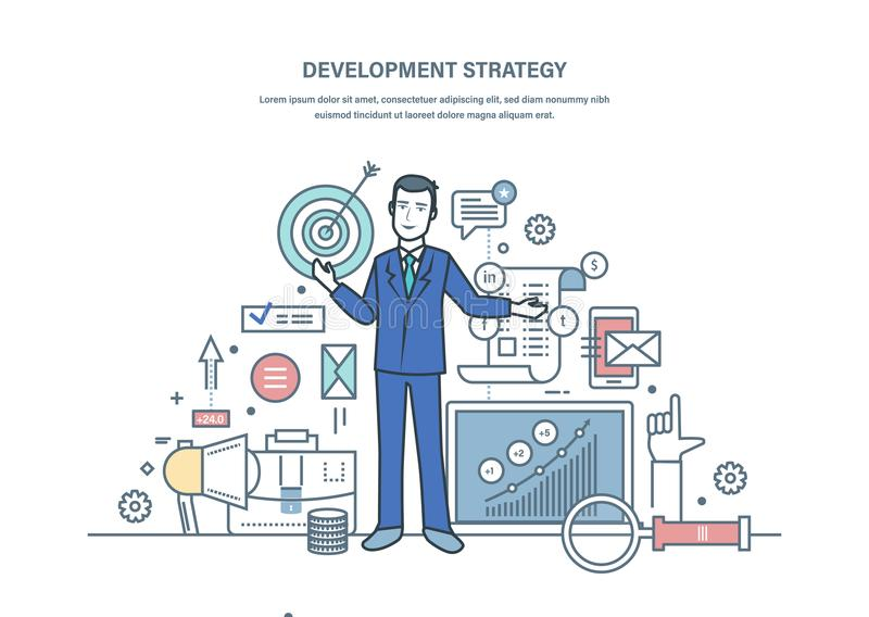 Development strategy, preparation effective business project, planning, budget saving. Development strategy, preparation effective business project, analysis of royalty free illustration
