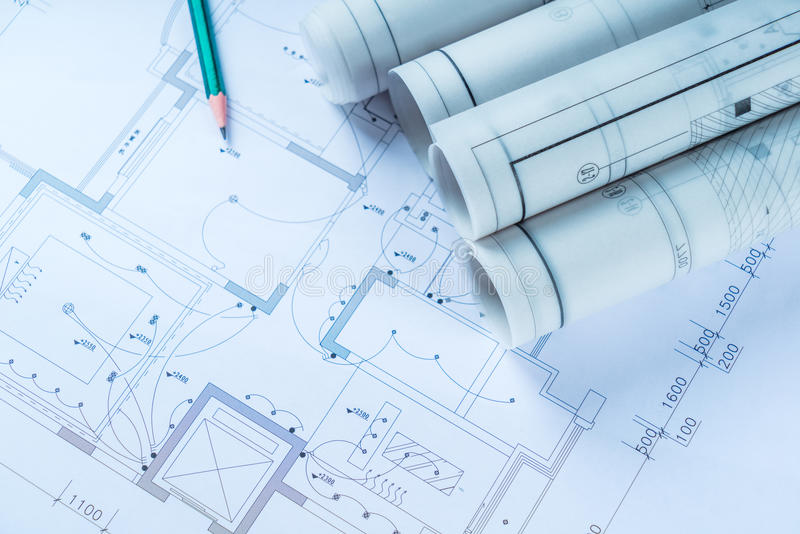 The development of technology project. Construction drawings for construction and Mechanical Engineer stock photography