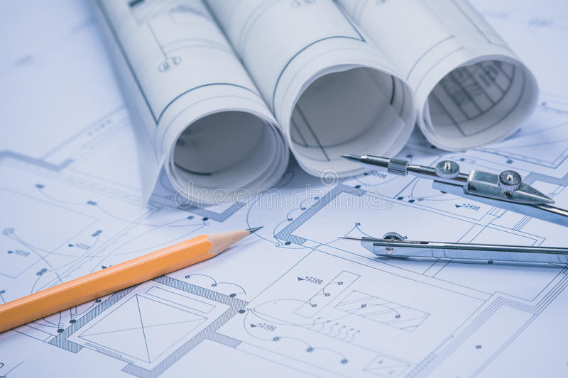 The development of technology project. Construction drawings for construction and Mechanical Engineer stock photos