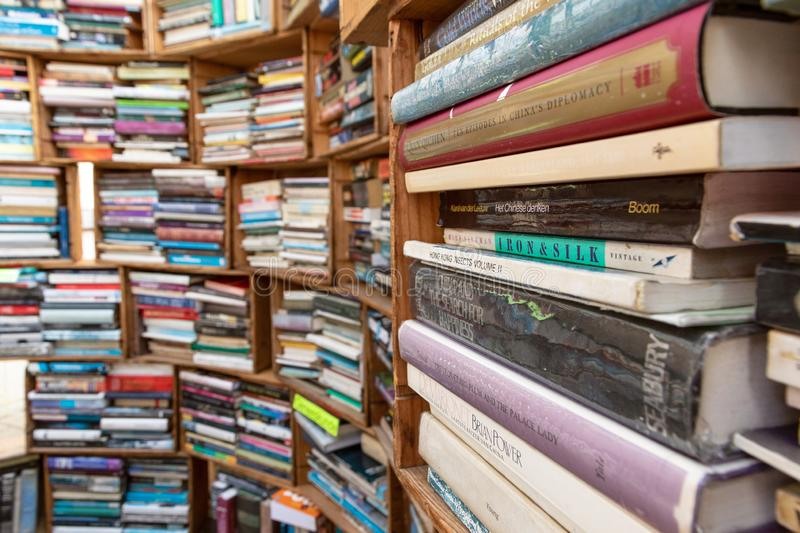 Various second hand books for sale stock photos