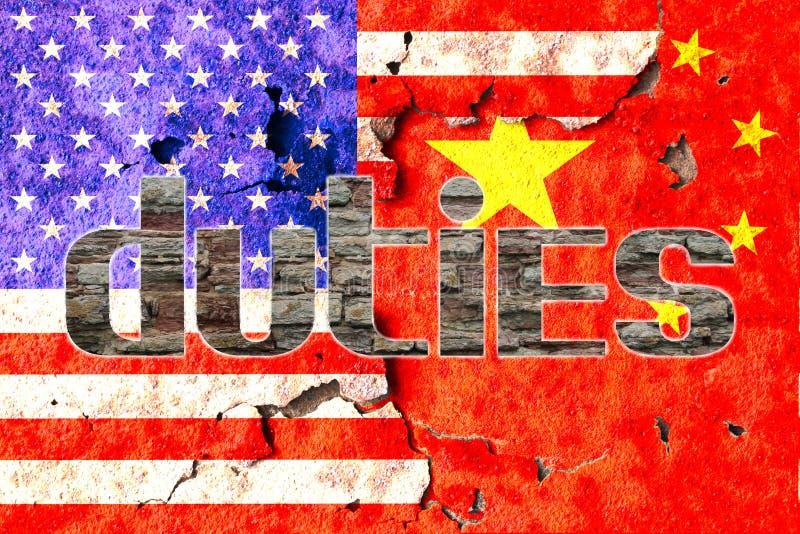 Deveres de América e de China fotos de stock