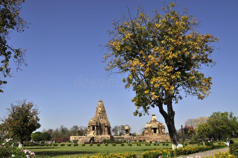 Devi Jagadambi Temple - left and Chitragupta Temple, temples of Khajuraho, Madhya Pradesh, India royalty free stock photo