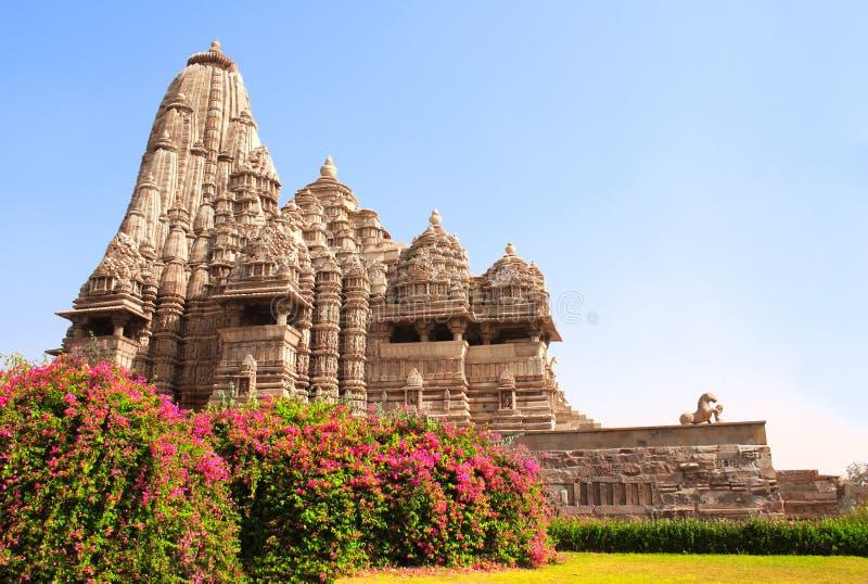 Devi Jagdambi寺庙,西部寺庙在克久拉霍,印度 免版税库存照片