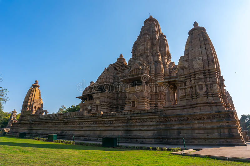 Devi Jagdambi寺庙,西部寺庙在爱, Madya Pradesh,印度克久拉霍寺庙  免版税库存图片