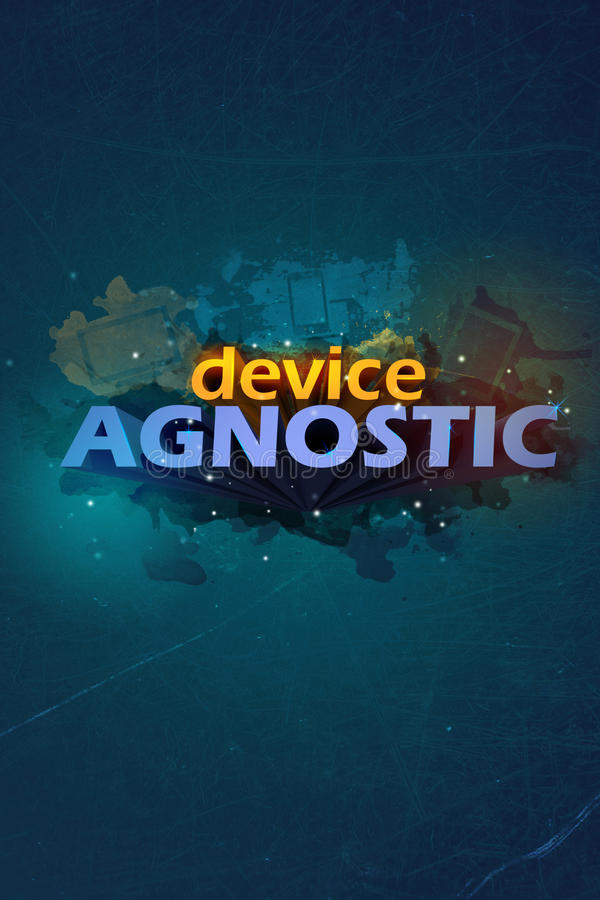 Device agnostic poster. With 3d letters and splashes with the devices. Modern poster royalty free illustration