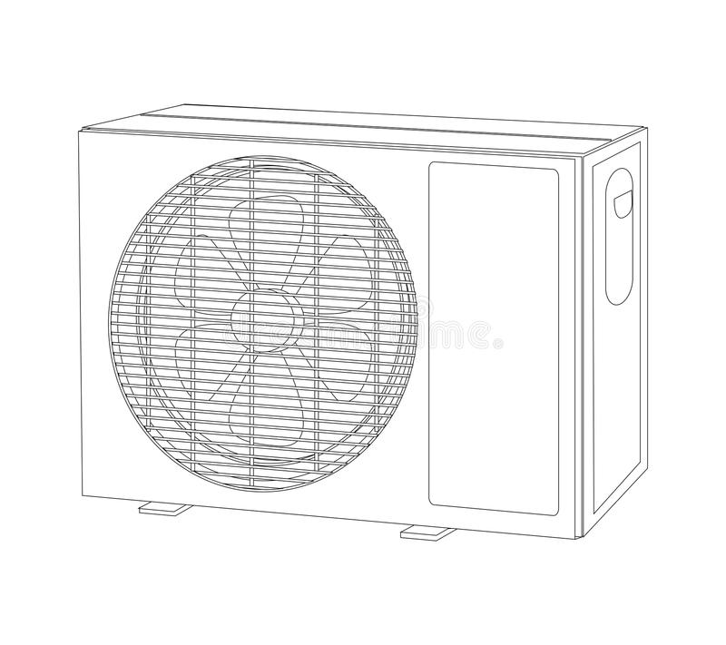 Download Device-air-cond-outlet-outline Stock Illustration - Illustration of climatization, conditioner: 17487767