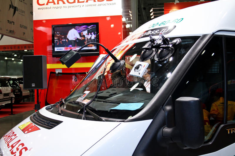 Device for auto glass repair. MOSCOW - AUGUST 25: Device for auto glass repair at the international exhibition of the auto and components industry, Interauto on stock images