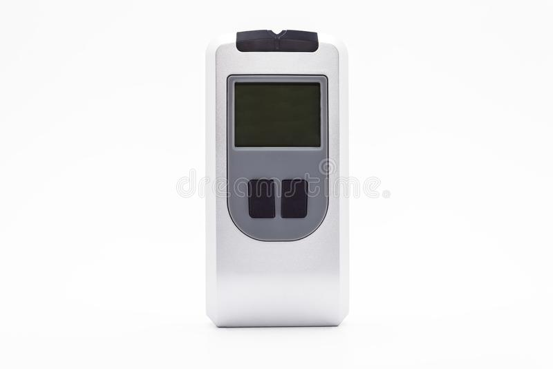Device for checking electrical cables in the wall and detecting metal, display turned off. Isolated on a white background with a c. Lipping path stock photo