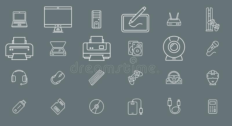 Electronic devices Icons 01 stock illustration