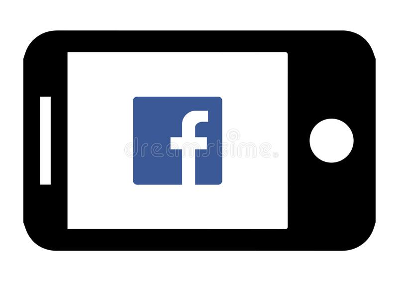 Device Facebook Icon Design. Audio, graphic. stock illustration