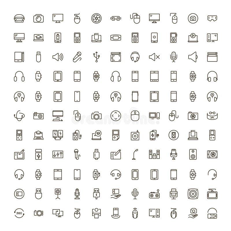 Device flat icon. Set . Single high quality outline symbol of info for web design or mobile app. Thin line signs for design logo, visit card, etc. Outline logo stock illustration