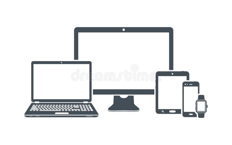 Device icons: desktop computer, laptop, smart phone, tablet and smart watch. Vector illustration royalty free illustration