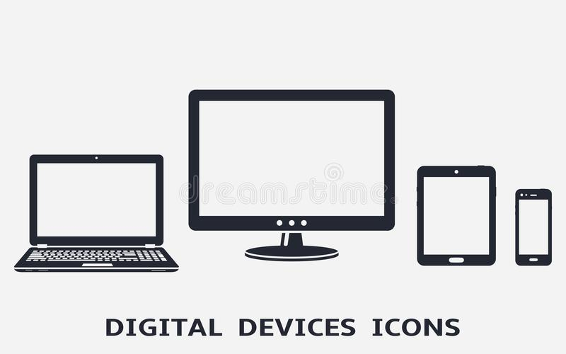 Device icons set: smart phone, tablet, laptop and computer monitor. royalty free illustration