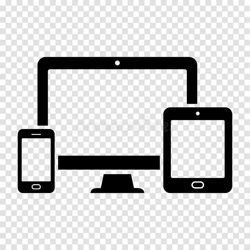 Device Icons: smart phone, tablet and desktop computer vector illustration