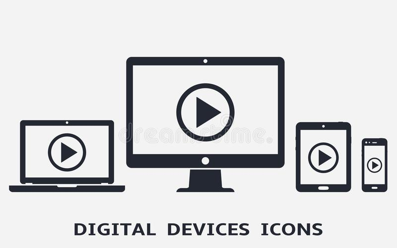 Device icons: smart phone, tablet, laptop and desktop computer with play button on screen. royalty free illustration