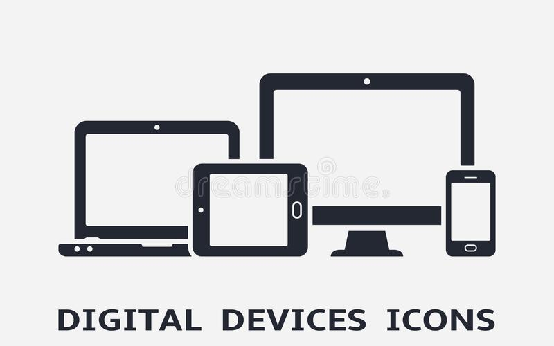Device icons: smart phone, tablet, laptop and desktop computer. Responsive web design. Device icons: smart phone, tablet, laptop and desktop computer. Vector stock illustration
