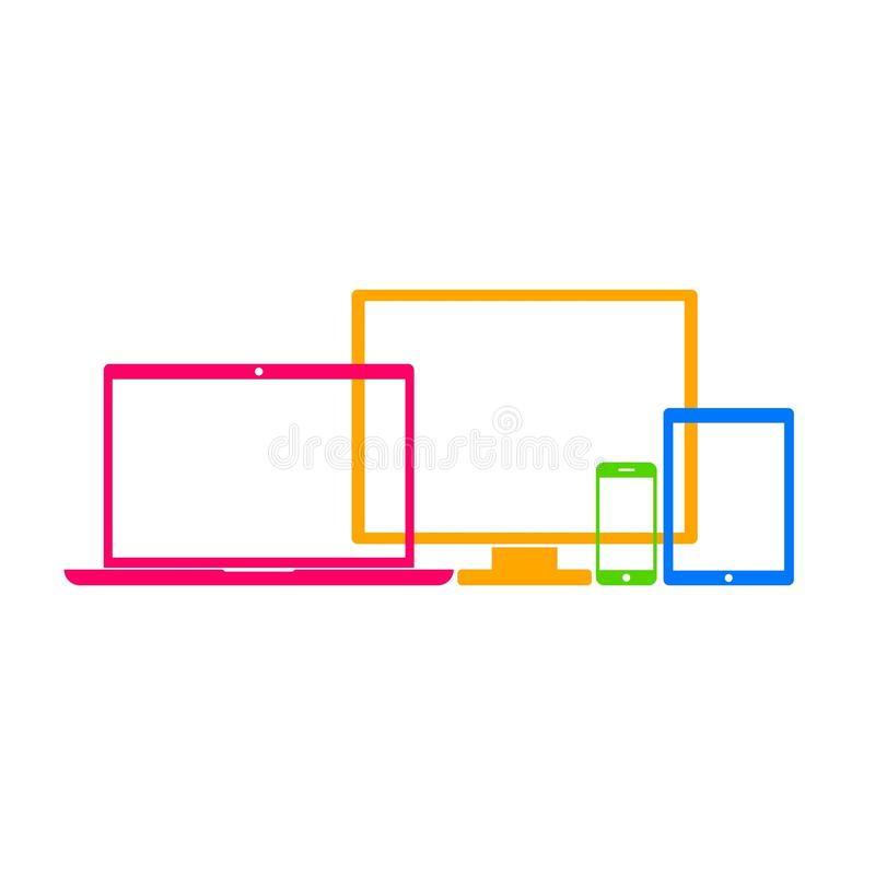 Device Icons: smartphone, tablet, laptop and desktop computer. royalty free illustration