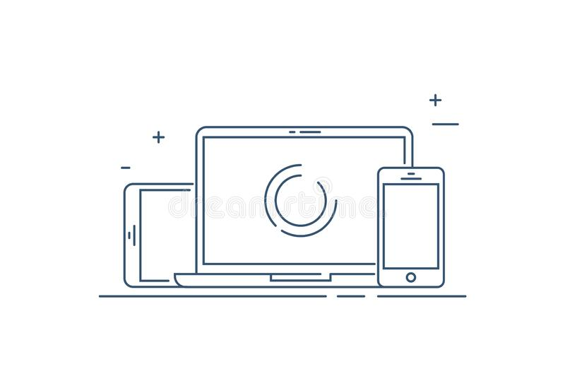 Device Illustration: smart phone, tablet and desktop computer. Vector icons or line draw of responsive web design stock illustration