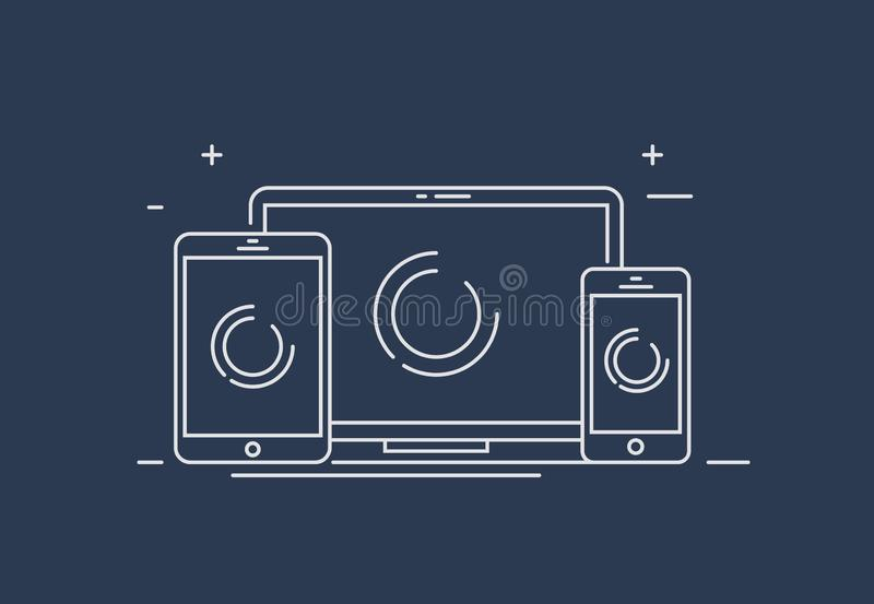 Responsive design. Device Illustration: smart phone, tablet and desktop computer. Device Illustration: smart phone, tablet and desktop computer. Vector icons or stock illustration