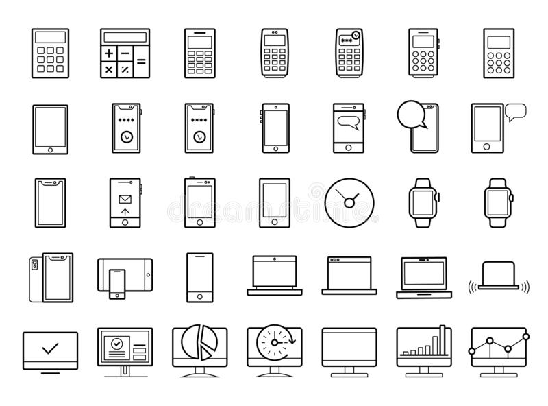 Device line icon set. Portable compact personal computer, smartphone, mobile phone, gadgets for information management, mobile cal stock photo