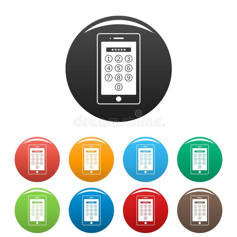 Device lock code icons set color royalty free illustration
