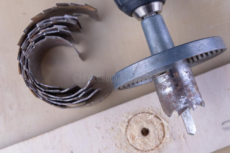 A device for making holes in wood. Joinery accessories for DIY enthusiasts. stock photography