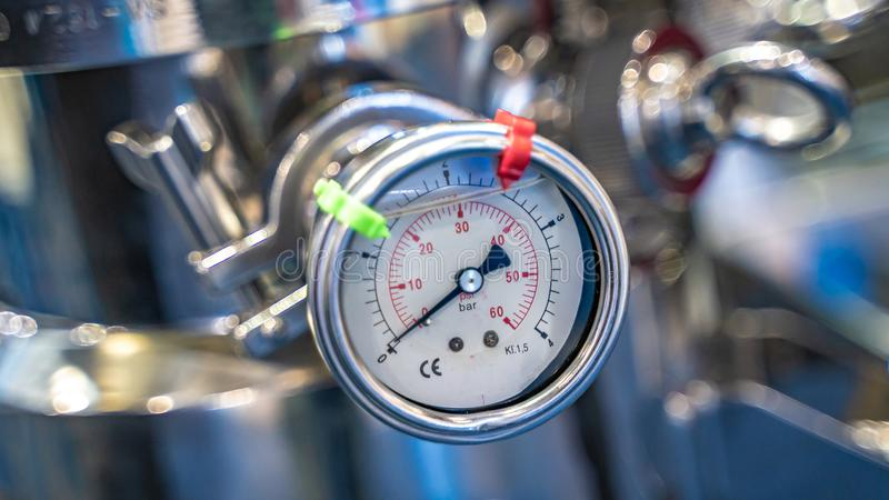 Device For Measuring Absolute Pressure Gauge. Scientific Instruments For Research, Industrial And Educational Uses stock photo