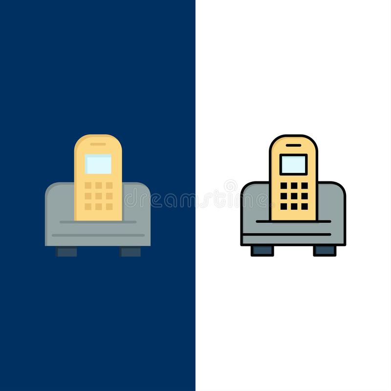 Device, Mobile, Cell, Hardware  Icons. Flat and Line Filled Icon Set Vector Blue Background vector illustration