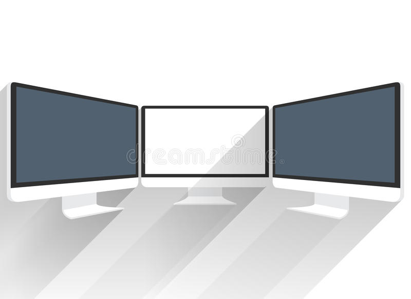 Device Mockups. Computer Monitor. Isolated flat screen white picture. Black LCD screen sideview. Black LCD monitor presentations. Display monitor perspective vector illustration
