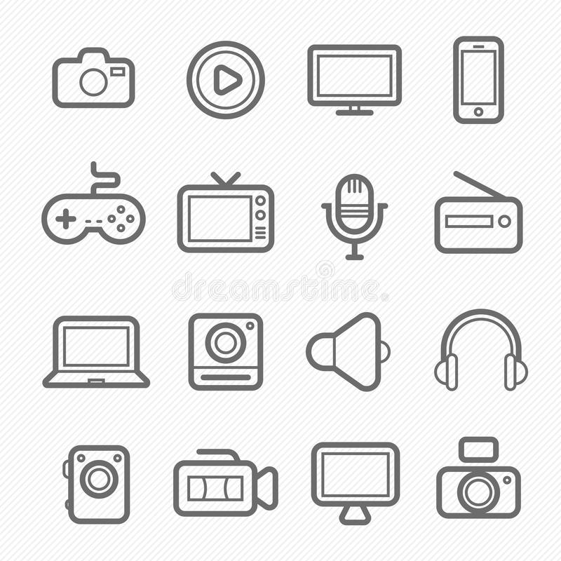 Device and multimedia symbol line icon stock illustration