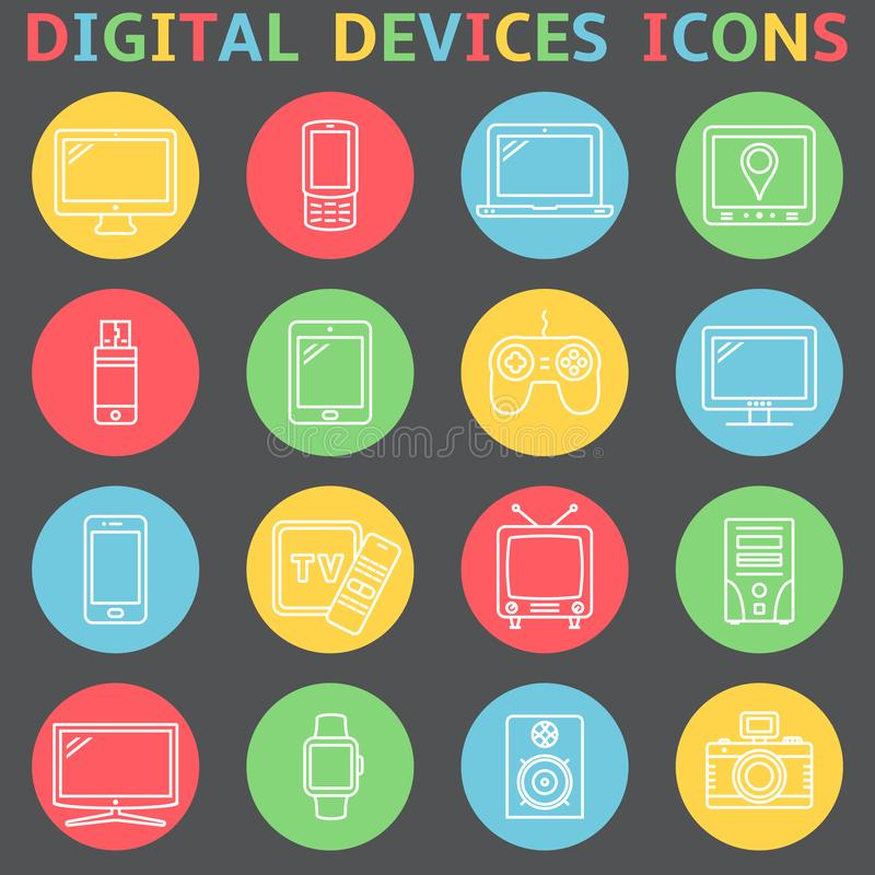 Device outline icons stock illustration