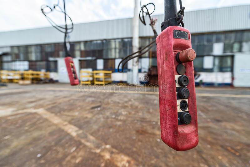 Device for remote crane operations. Shot of device for remote crane operations stock photo