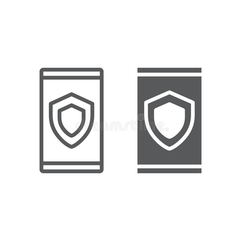Device security line and glyph icon, data royalty free illustration