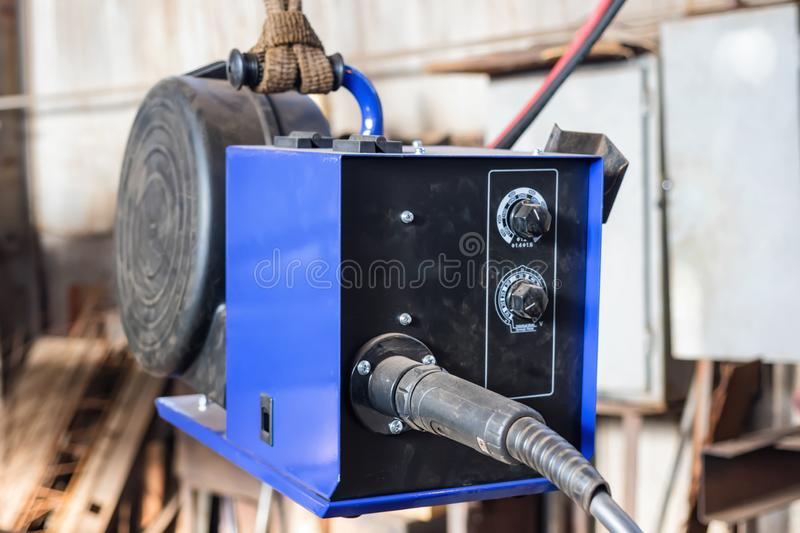 Device for semi-automatic welding in the environment of protective gases. The device for semi-automatic welding in the environment of protective gases is royalty free stock photos