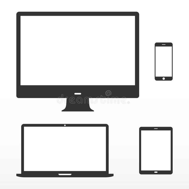 Device set. Icons electronic device with white screen. Computer monitor, laptop, tablet, mobile phone. Isolated on white background vector illustration