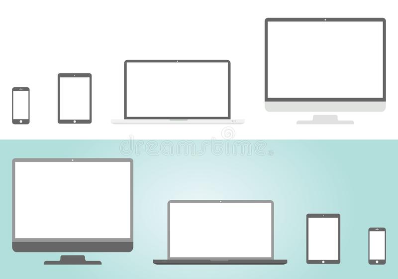Device style Apple icons: smartphone, tablet, laptop and desktop computer. Flat design,. Device style Apple icons: smartphone, tablet, laptop and desktop royalty free illustration