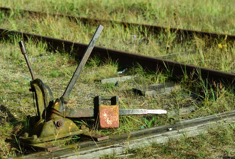 The device of switch translations of a rail, the mechanism with a manual control stands stock photography