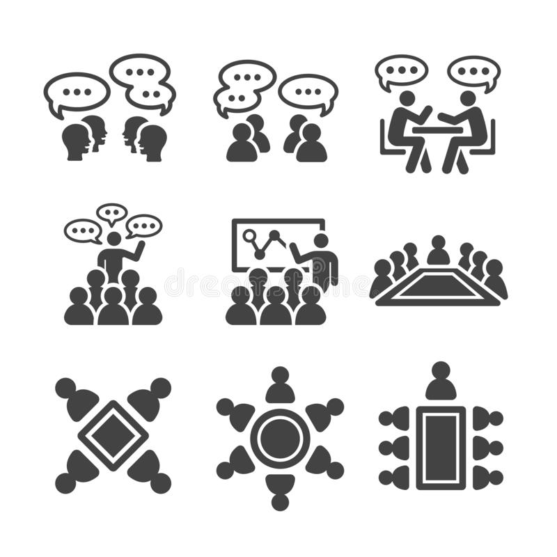 Meeting icon set. Meeting and conference icon set,vector and illustration stock illustration