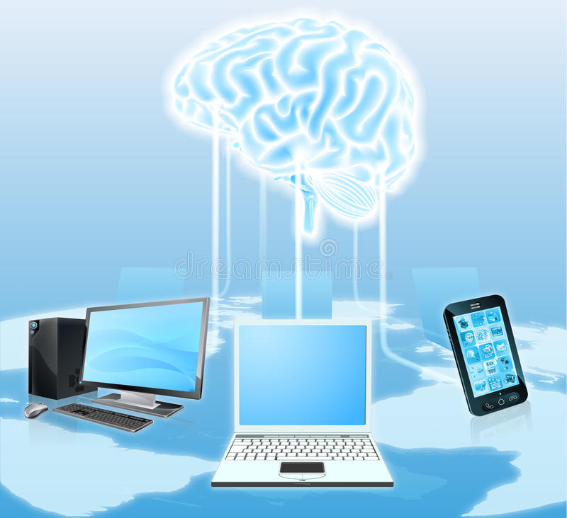 Devices connected to central brain royalty free illustration