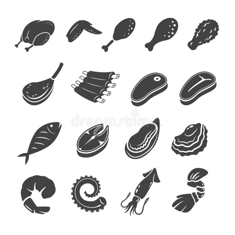 Cooking meat icon set. Cooking meat,seafood icon set,vector and illustration vector illustration