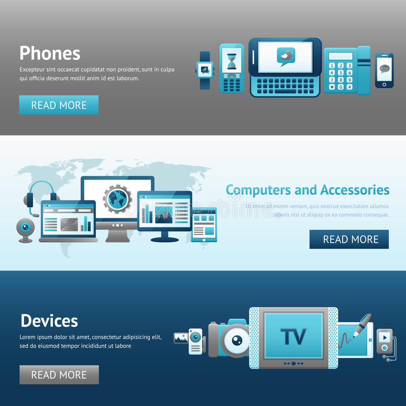 Devices Design Banner Set. With phones computers and accessories isolated vector illustration royalty free illustration