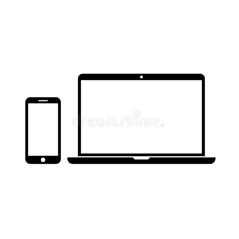 Smartphone and laptop with blank screens stock illustration