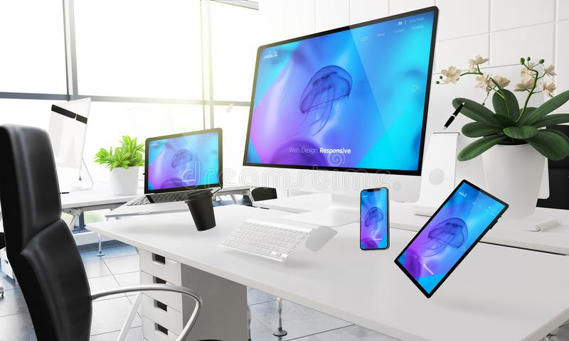 Devices floating on mid air mockup showing responsive website. 3d rendering mockup of computers, mobile devices and assorted office supplies floating in mid-air stock illustration