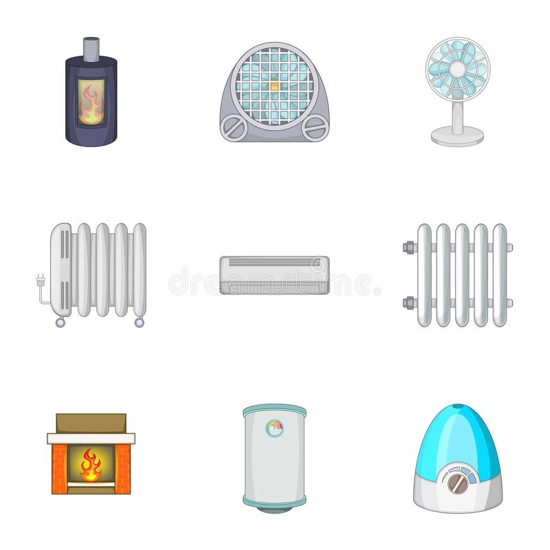 Devices for heating and cooling houses icons set stock illustration