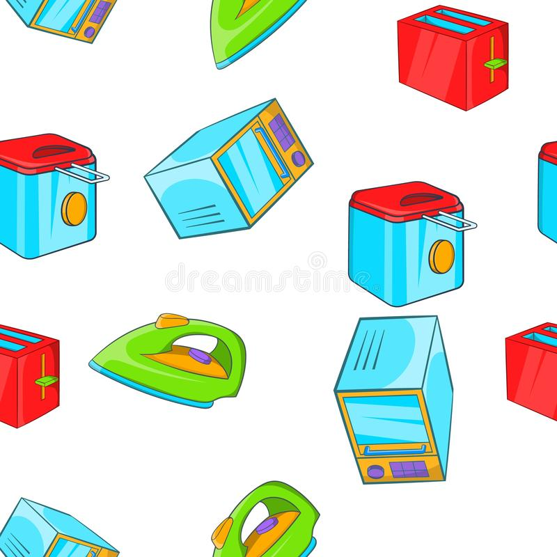 Devices for home pattern, cartoon style. Devices for home pattern. Cartoon illustration of devices for home pattern for web stock illustration