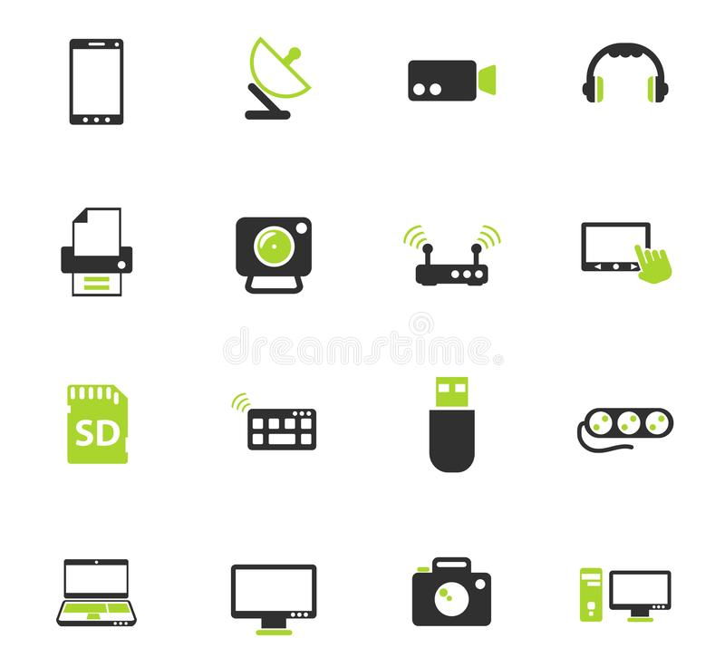 Devices icon set. Devices color vector icons for web and user interface design royalty free illustration