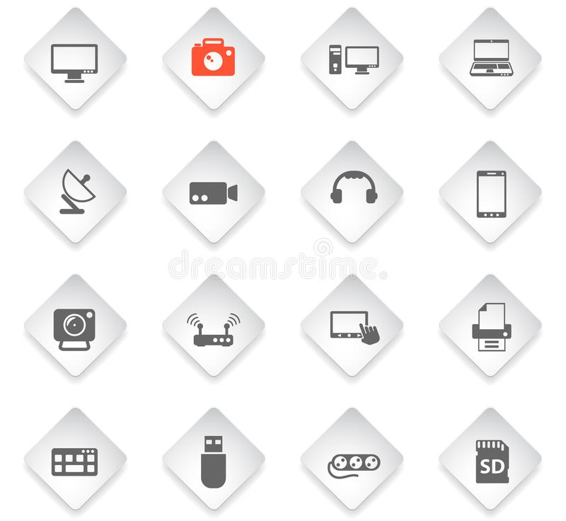 Devices icon set. Devices flat rhombus web icons for user interface design stock illustration