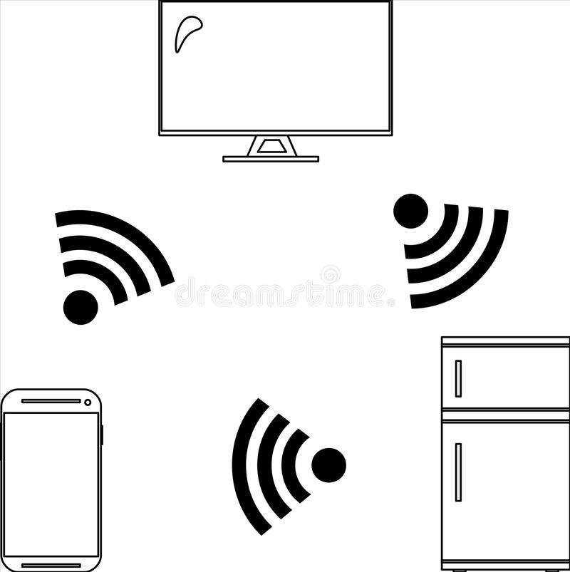 Devices for Internet of Things IoT. Devices and objects such as a smartphone, fridge, TV, of Internet of Things, IoT, connected via wifi internet. They are royalty free illustration