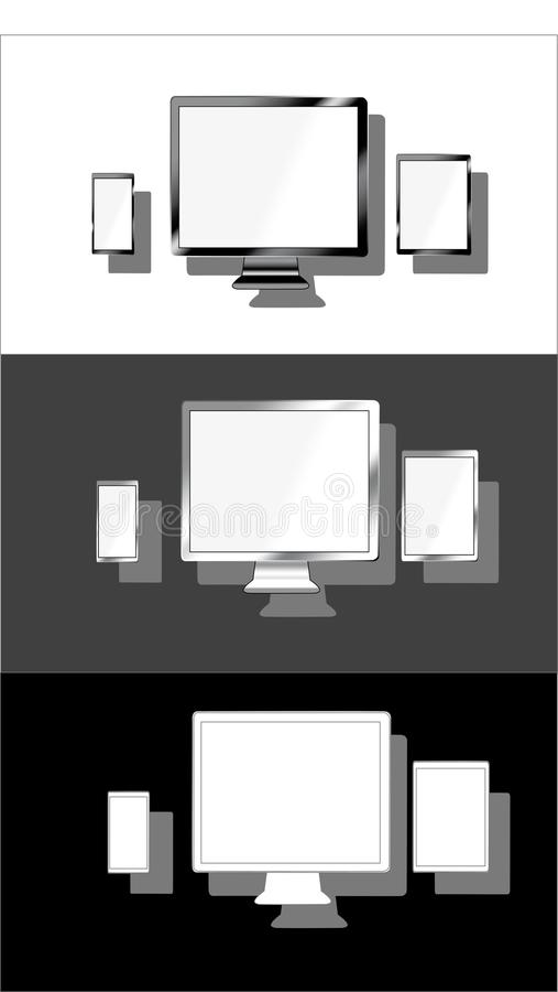Devices lcd tft monitor phone tablet set variation flat material design landing sites graphic isolated vector objects. royalty free illustration